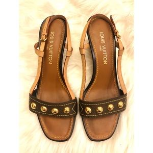 LOUIS VUITTON Gold Studded Wedge Sandals size 38.5